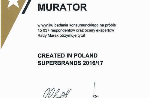 Murator z tytułem Created in Poland Superbrands 2016/17